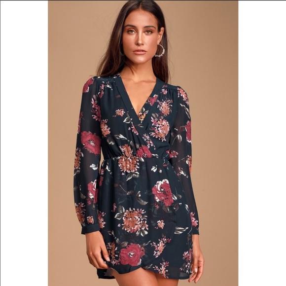 Lulu's Pretty Pretender Navy Floral Print Dress XS